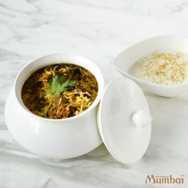 ムンバイ マトンビリヤニ ライタ付