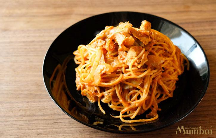 バターチキンパスタ 冷凍カレー アレンジ レシピ インド料理ムンバイ