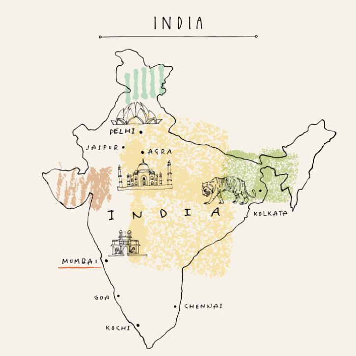 インド 地図 イラスト ムンバイ タージマハル デリー