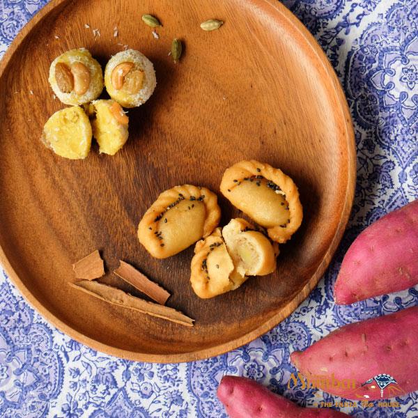 インドスイーツ さつまいもグジヤ さつまいもラドゥ shakar kandi gujiya ladoo indian sweets インド菓子 ミタイ mithai インドのおいもスイーツ