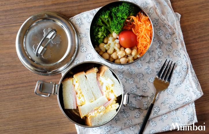 ダッバー 使用例 Dabba インドのステンレス弁当箱 ダッバーワラ サンドイッチ サラダ